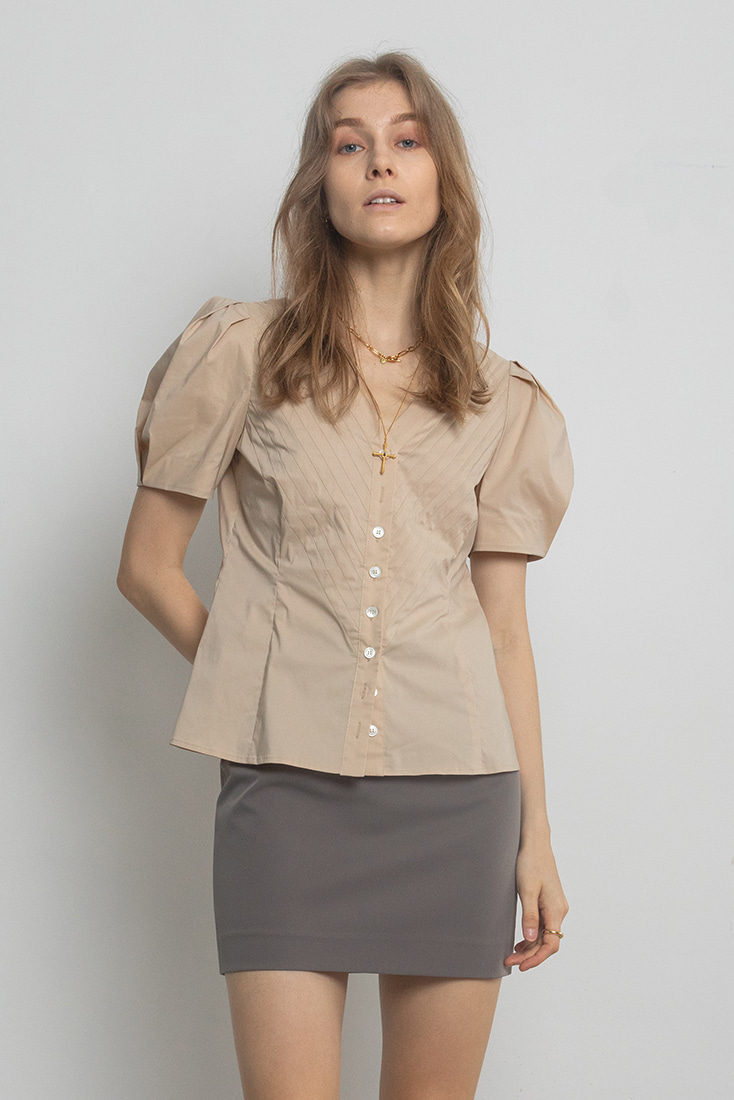 Cotton Pleats Puffy Sleeves Blouse - Beige