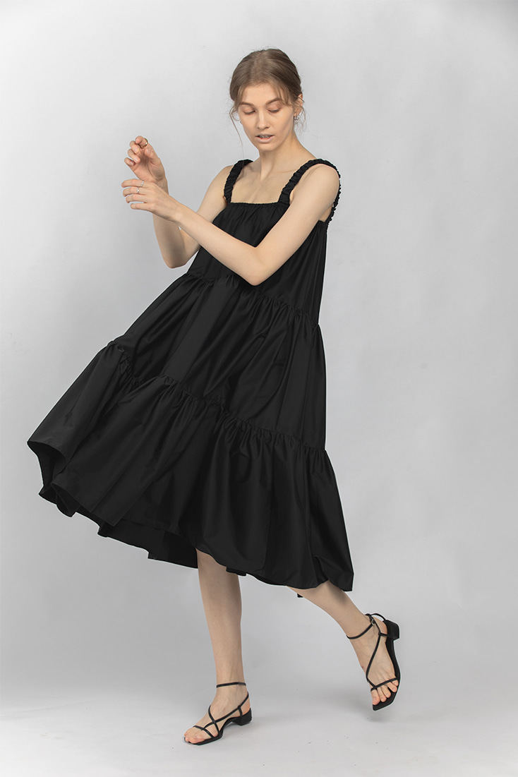 Gathered band Simple Dress - Black