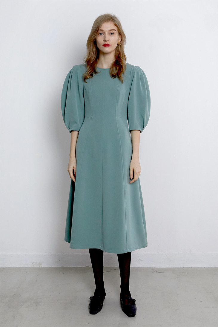 Volume Puffy Line Dress - Mint