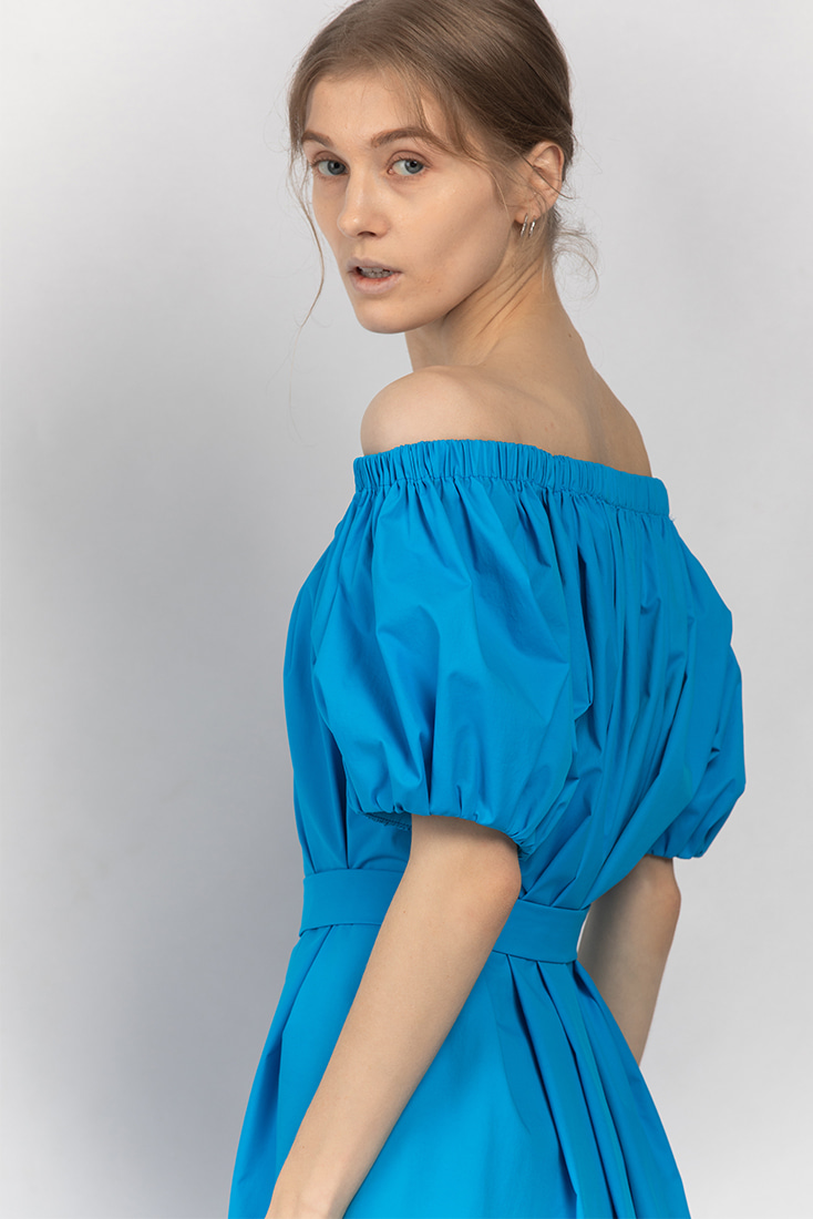 Simple Gathered Neck Dress - Blue