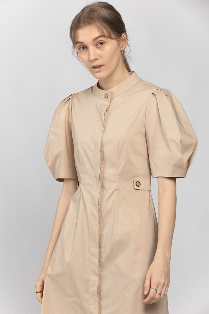Cotton Puffy Sleeve Button-Down Dress - Beige