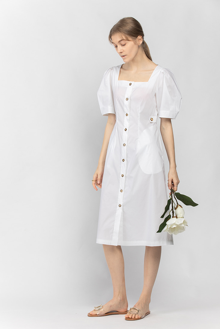 Cotton Square Neck Button-down Dress - White