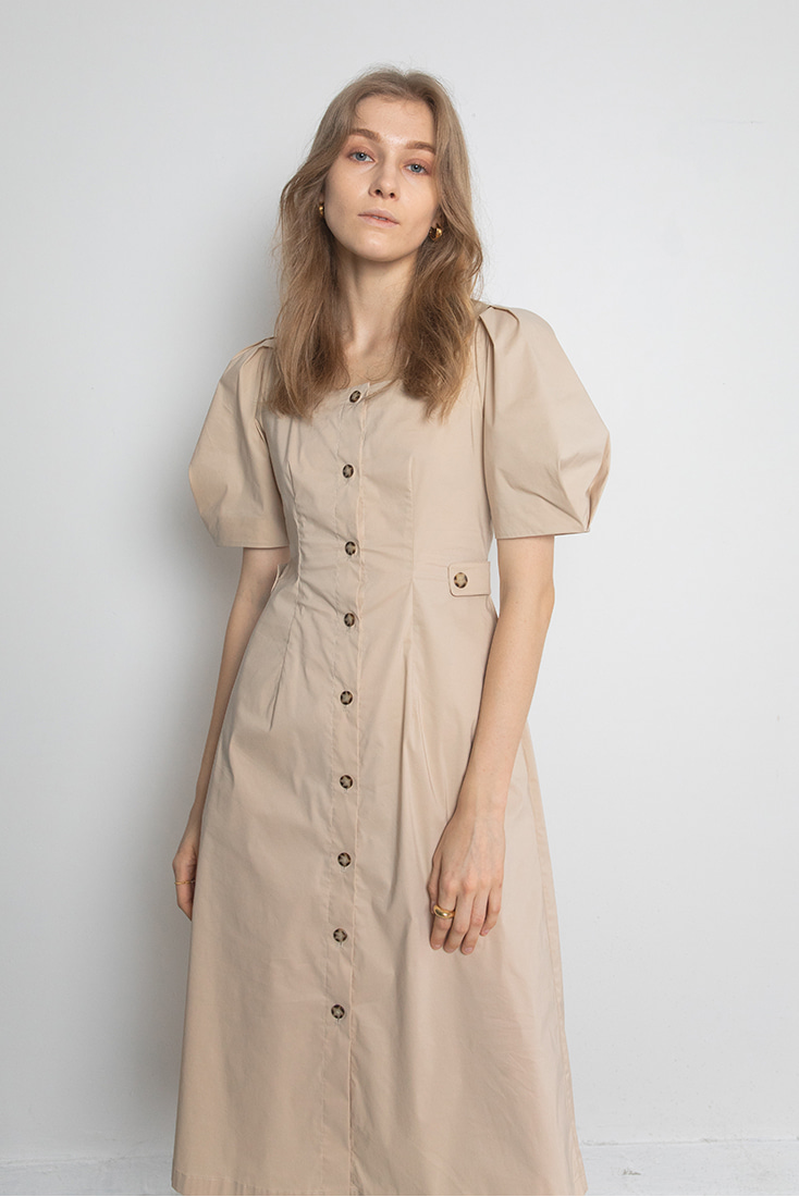 Cotton Square Neck Button-down Dress - Beige