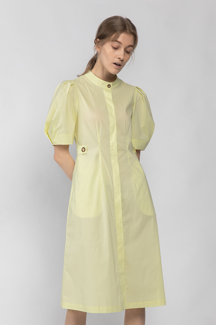 Cotton Puffy Sleeve Button-Down Dress - Yellow