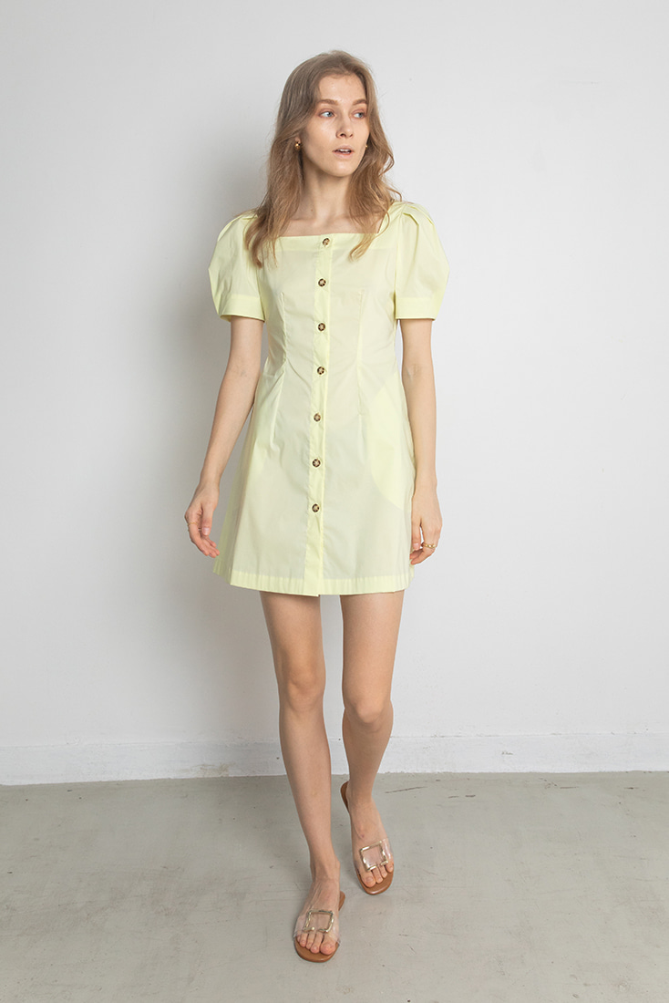 Square Neck Puffy-sleeve Dress - Yellow