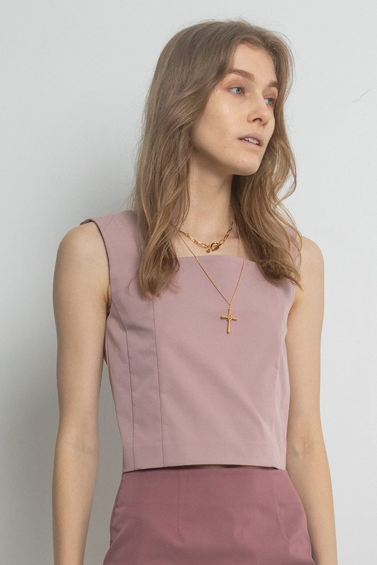 Square Neck Top - Dust Pink