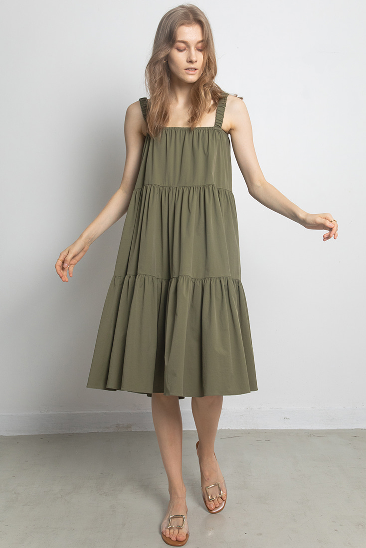 Gathered band Simple Dress - Khaki