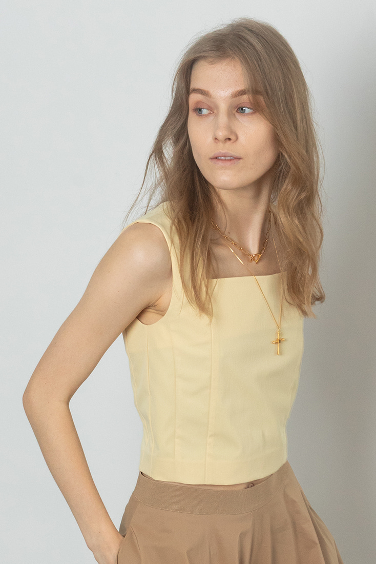 Square Neck Top - Yellow