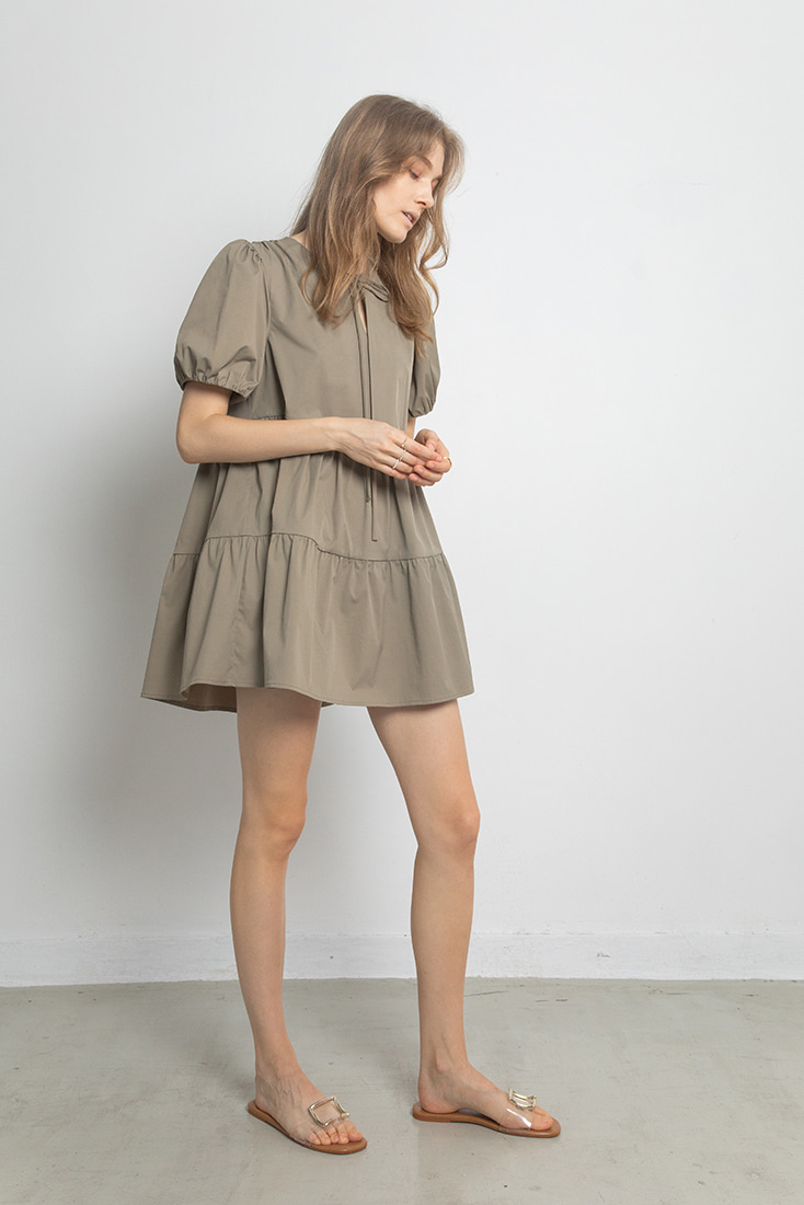 Volume Puffy Mini Dress - Khaki Grey