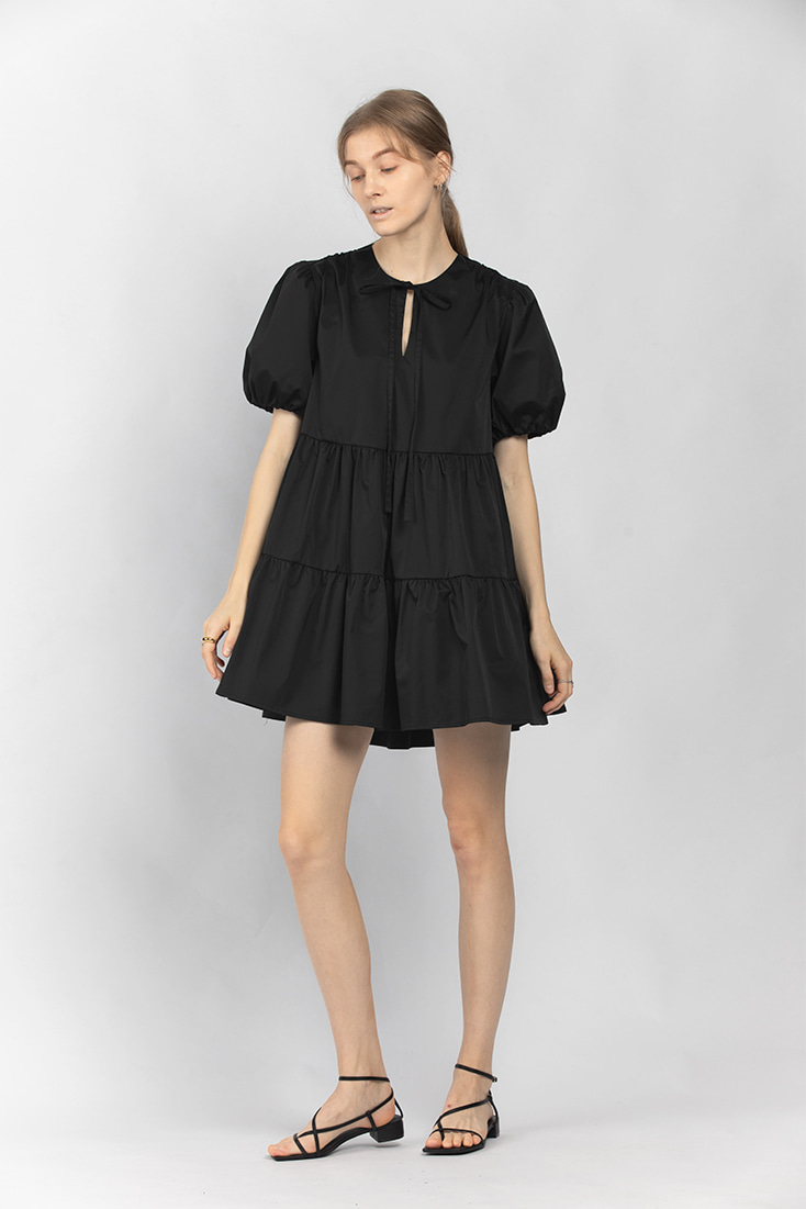 Volume Puffy Mini Dress - Black