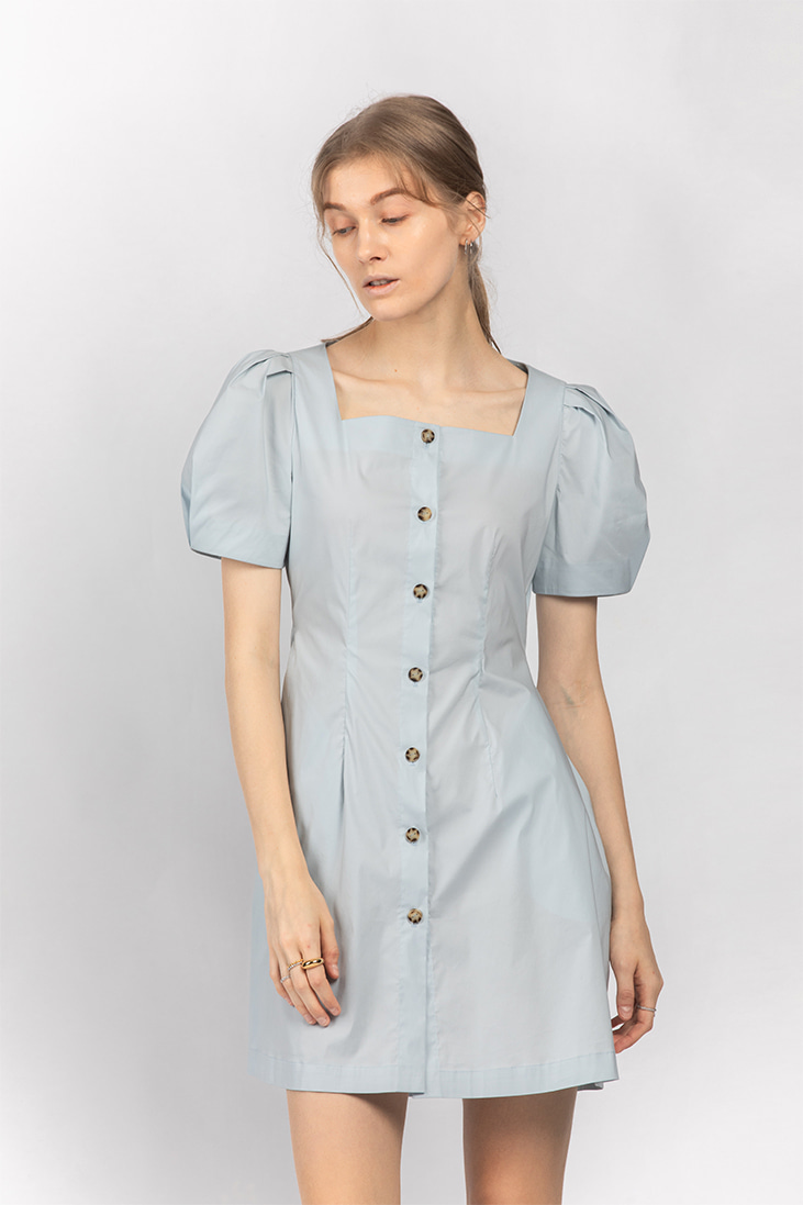 Square Neck Puffy-sleeve Dress - Blue