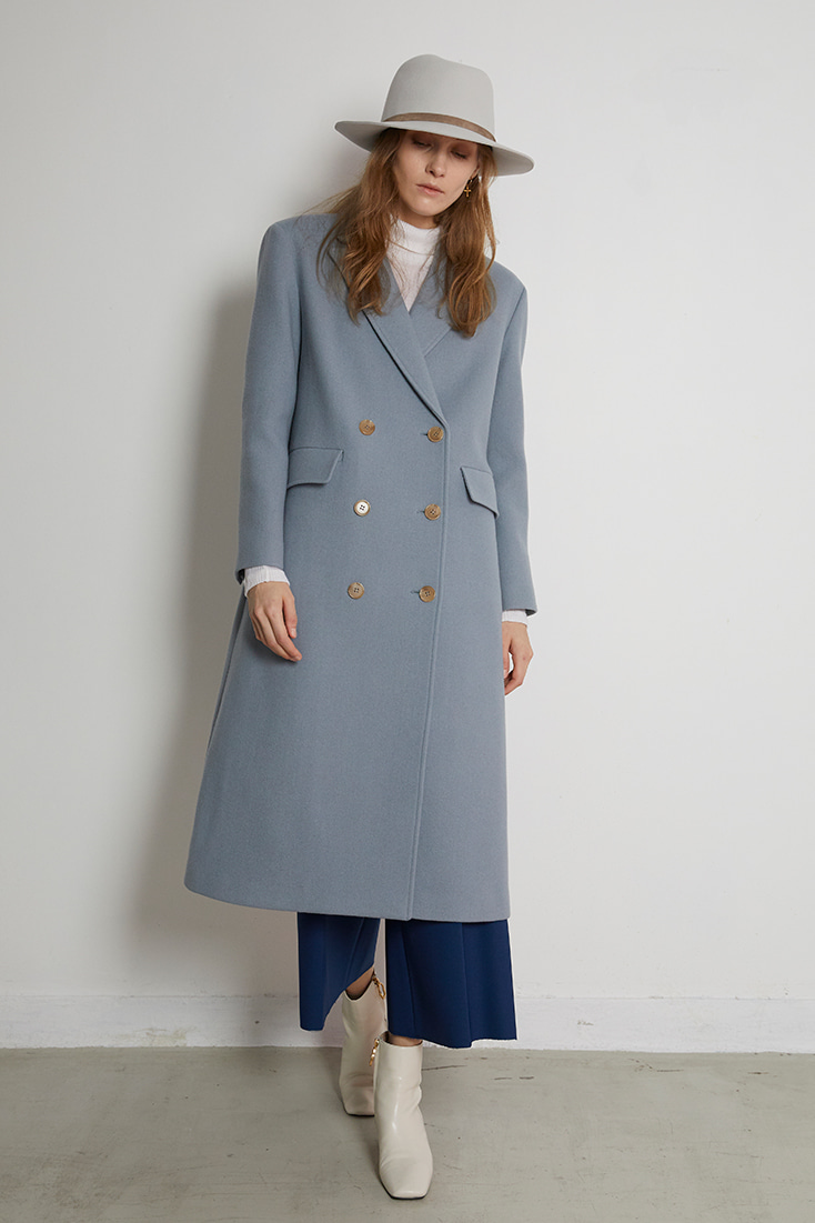 Tailored Wool Coat - Blue