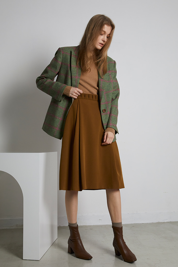 Gathered Belt Midi Skirt - Brown