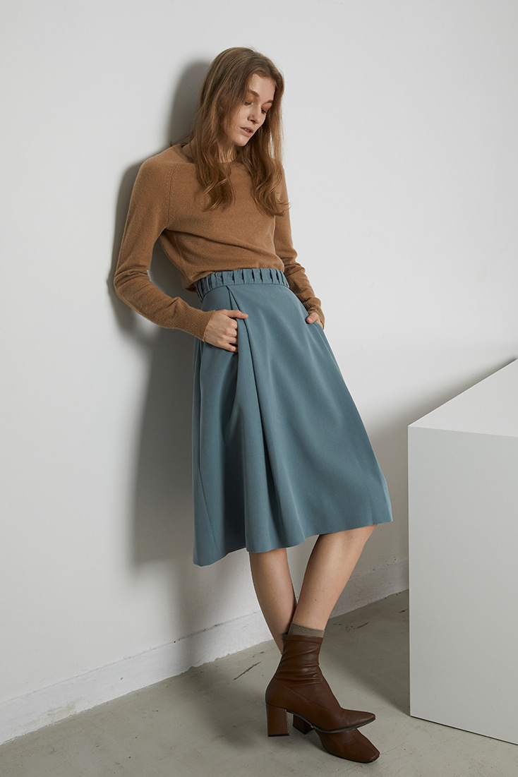 Gathered Belt Midi Skirt - Blue