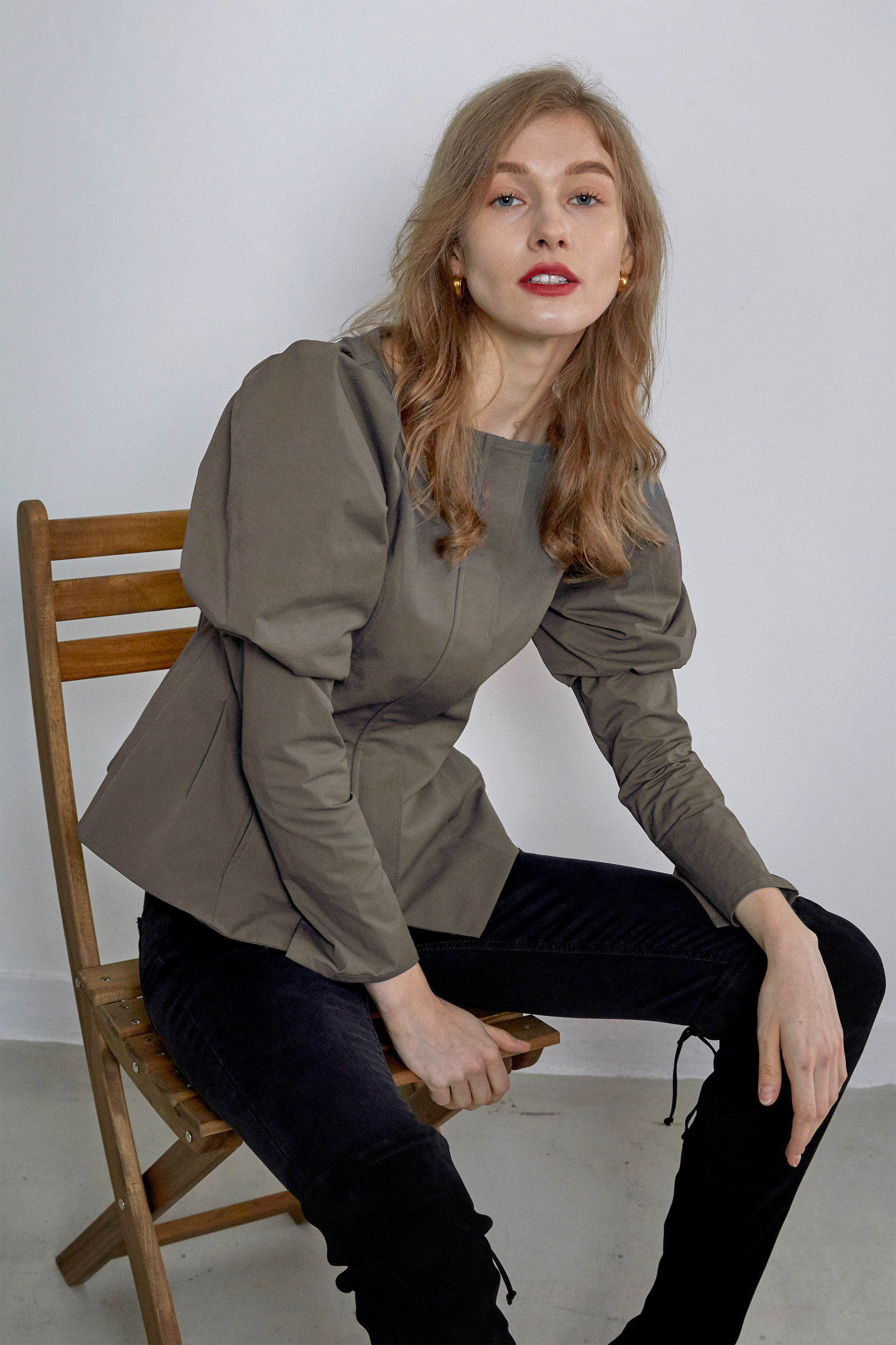 Puffy Sleeve Zip-up Blouse-Khaki Grey