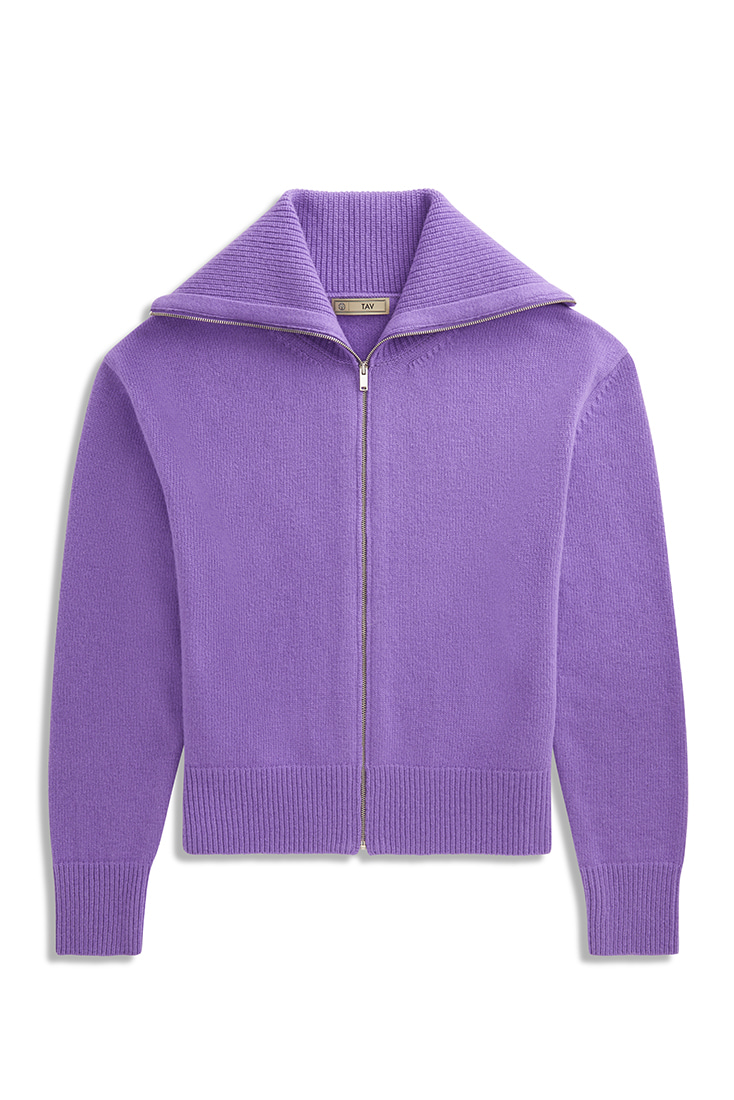 Soft Mohair knit zip-up - Purple