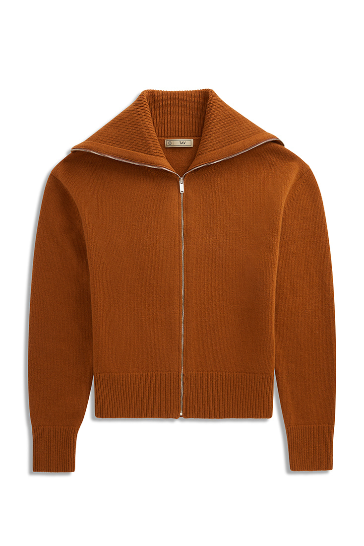 Soft Mohair knit zip-up - Brown