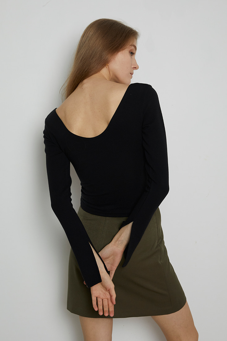 Deep V-neck Tencel Top - Black