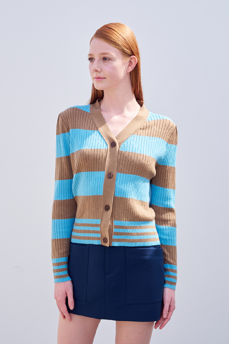 Cat Cardigan  - Beige&Blue