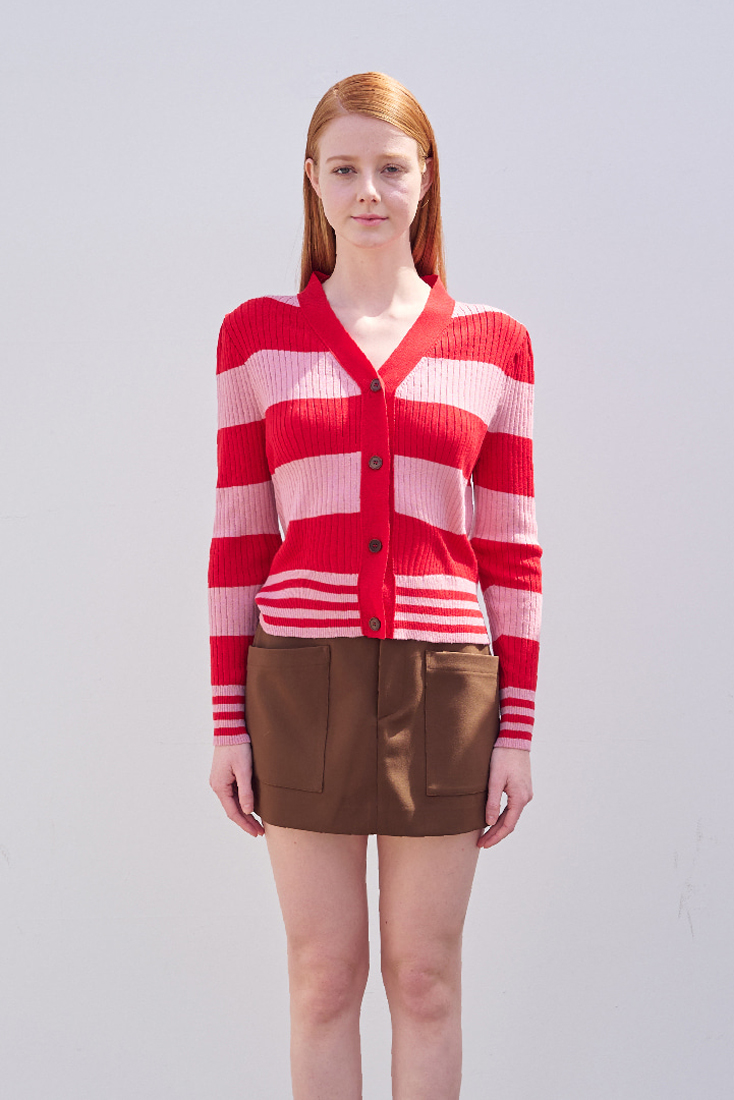 Cat Cardigan  - Pink&Red